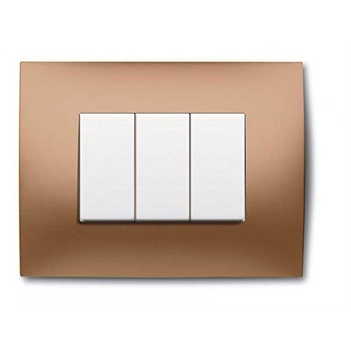 Abb Placca 3 Mod. Oro Lucido, White