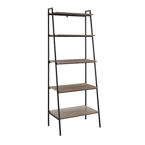 Eden Bridge Designs 183cm (72') Industrial 5 Tier Ladder Bookcase and Bookshelf-Mocha, High-Grade MDF - Indoor Plant Flower Stand Shelf Unit, Multi Use Display Storage Wall Shelves Unit Rack