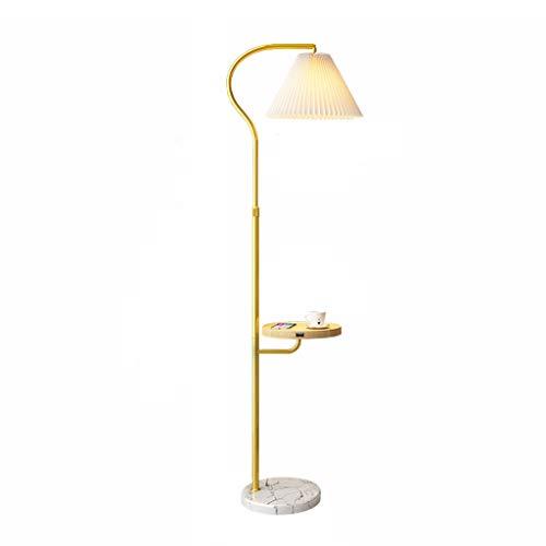 Heimgebrauch Stehlampe Moderne Stehlampe mit Holztisch-Stehlampe, Plissee-Lampenschirm-Bodenleuchte für Wohnzimmer, Büro und Schlafzimmer Bettseite Stehleuchte (Color : Gold)