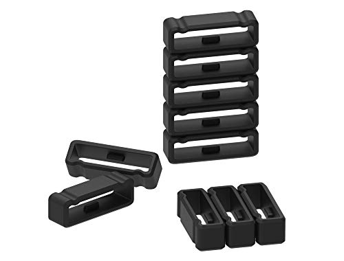 11-Pack Replacement Fastener Ring for Garmin Fenix 3/Fenix 3 HR/Fenix 3 Sapphire/Fenix 5X/Fenix 5X Plus/Fenix 6X&6X Pro/Descent Mk1/Quatix 3/Tactix Bravo Silicone Band Keeper Security Loop(Black-26mm)