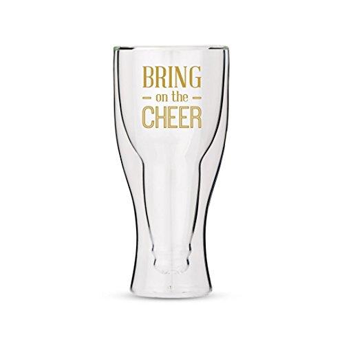 Weddingstar à double paroi en verre de bière avec motif Bring on the Cheer