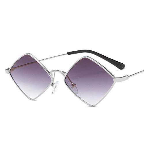 YHKF Gafas De Sol para Mujer Gafas De Sol Cuadradas De Metal Moda para Hombre Sombras Uv400 Fiesta Al Aire Libre Mujer Hombre-Silver_Gray
