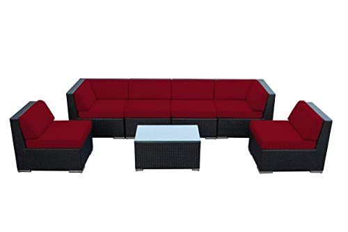 Ohana 7-Piece Outdoor Patio Furniture Sectional Conversation Set, Black Wicker with Red Cushions - No Assembly with Free Patio Cover