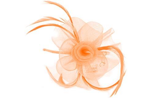 Inca 4319 Bibi en filet pastel Fleur et Plume sur Aliceband Étroit Courses Mariage - Rose - taille unique