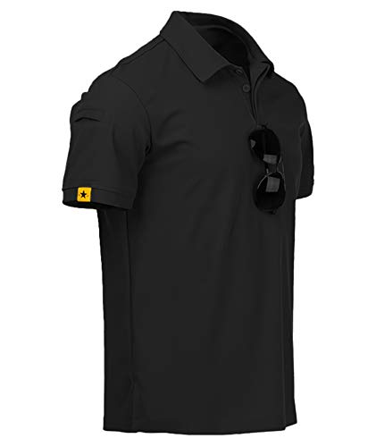 ZITY Mens Polo Shirt Cool Quick-Dry Sweat-Wicking Short Sleeve Sports Golf Tennis T-Shirt Black-2XL