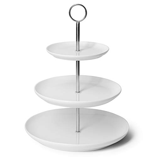 Sweese 735.101 3 Tier Cupcake Stand- White Porcelain Cake Stand- Dessert Stand, Tiered Serving Trays for Parties
