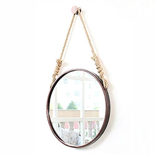 Lattice Specchi da bagno Specchio rotondo da appendere con corda di canapa, specchio da bagno a...