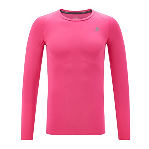 Devoropa Youth Boys Compression Shirt Long Sleeve Football Baseball Undershirt Quick Dry Sports Baselayer Pink S