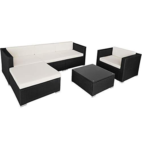 TecTake 800806 Hochwertige Luxus Polyrattan Sitzgruppe Lounge Set für Garten und Terrasse, inkl. Sitz- und Rückenkissen, Gartenmöbel Set mit Sofa, Sessel und Tisch (Schwarz)