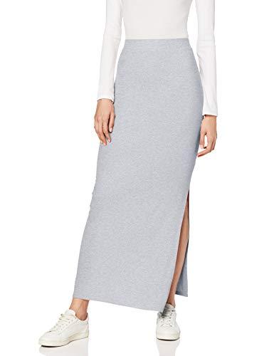 Amazon-Marke: MERAKI Damen Slim Fit Maxi-Rock mit Feinripp, Grau (Grey Marl), X-Small