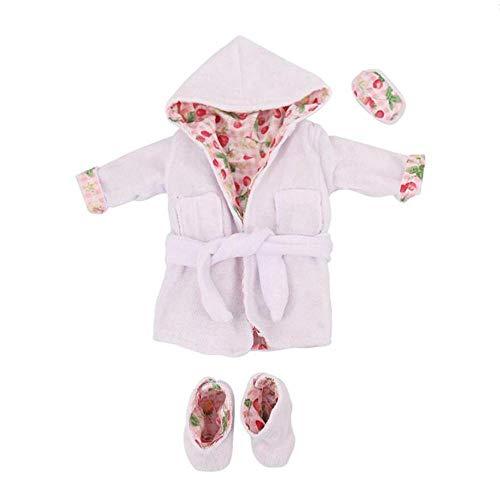 DUORUI Puppe Kleidung Kleid Winter Outfit Pyjama Plüsch Bademantel Nachthemd mit Blinder für American Girl Doll 18 Zoll