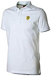 Ferrari Polo Hombre clásico Escudo Blanco Talla XXL: Amazon.es ...