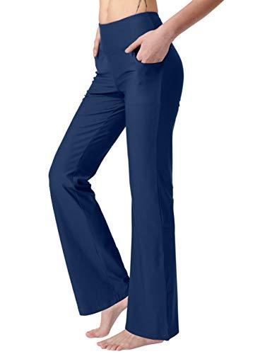 Keolorn Women's Bootcut Yoga Pants with Pockets High Waist Bootleg Yoga Workout Pants for Women(Blue, XX-Large)