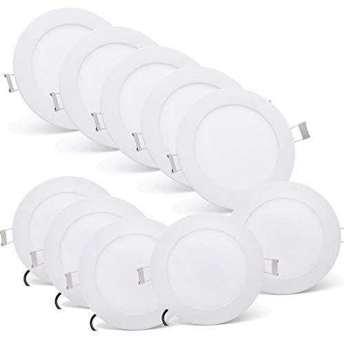 [10 Stück] MYHOO Ultraslim Slim LED Panel 9W Kaltweiß Rund Einbaustrahler Einbauleuchte Deckenstrahler Deckenleuchte Deckenlampe Einbau Lampe Spot [Energieklasse A+]