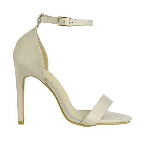 BeMeesh Damen Damen Stiletto High Heel Knöchelriemen Sandalen Pumps Peep Toe Schuhe