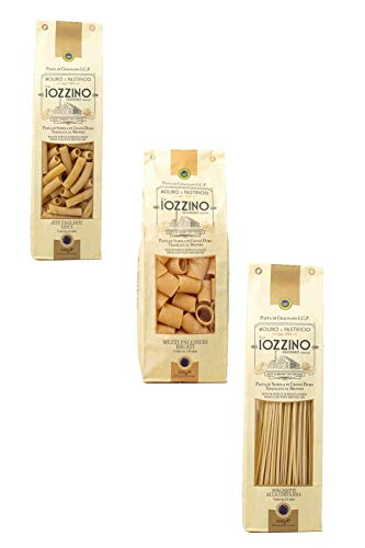 Pastificio F.lli Iozzino - Hartweizen Pasta g.g.A - Auswahl an verschiedenen Nudeln 3Kg (6x500g)  1 Kg spaghetti alla chitarra + 1 Kg ziti tagliati + 1 Kg mezzi paccheri rigati 