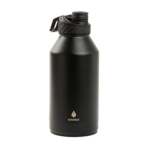 Manna Convoy 64oz Half Gallon Water Bottle Double Wall Vacuum Insulated Stainless Steel Tumbler With Lid Simple Mouth Spout Cold And Hot Reusable Metal Jug Flask Gym And Travel Onyx 64 oz