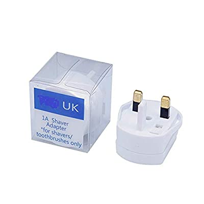 UK 2 Pin To 3 Pin 1A Fuse Adaptor Plug For Shaver/Toothbrush- Also for Braun Electric Toothbrush from Tabsy
