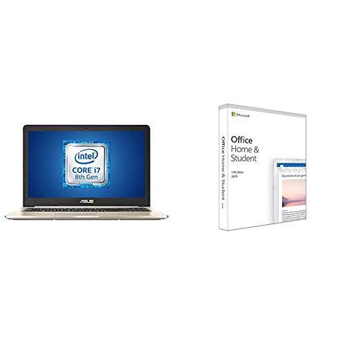 """ASUS Vivobook Pro N580GD-DM054T, Notebook con Monitor 15,6"""" FHD No Glare, Intel Core i7-8750H, RAM 16 GB DDR4, HDD da 1TB e 512GB SSD, Windows 10 + Microsoft Office Home & Student 2019"""
