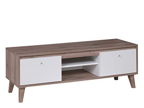 Mirjan24 TV-Schrank Oviedo RTV135, TV-Tisch im skandinavischen Stil, Fernsehtisch, Lowboard, Fernsehschrank, TV-Bank, TV-Möbel (San Remo Eiche Dunkel/Weiß Matt)