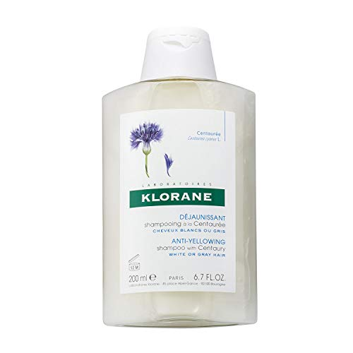 Klorane Anti -Yellowing Shampoo with Centaury for Blonde, White, Silver, Pastel Hair with Natural Blue Pigments, 6.7 oz.