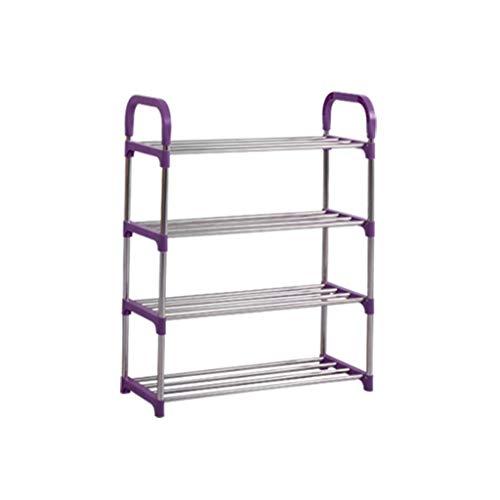 Aveo Zapatero Zapato Simple para el hogar Rack de Zapatos Gabinete Estante de Almacenamiento en Rack Estante Combinación de Zapatos Metal Shoe Rack Purple Zapatera (Color : Purple)