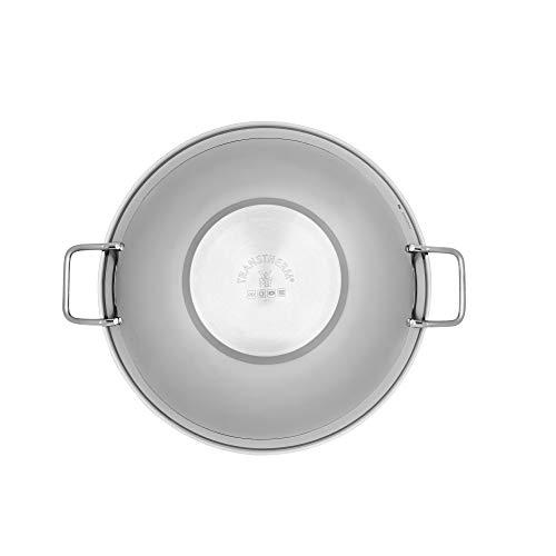 WMF Gourmet Plus Wok con Tapa de Cristal (4 Piezas), Acero Inoxidable Pulido, 36 cm