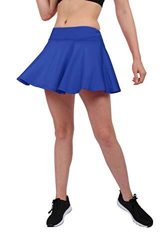 Westkun HonourSport Damen Tennisrock Skirt Minirock Sport Fitness Yoga Skort Falten, M, Blau