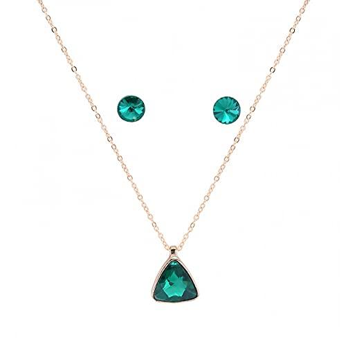 WDBUN Collar Colgante Joyas Conjunto de Collar de Pendientes de Cristal de triángulo de aleación Multicolor Simple Nuevo cumpleaños Fiesta Regalo