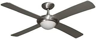Luna Contemporary Ceiling Fan in Brushed Aluminum With Integrated Halogen Light and Remote