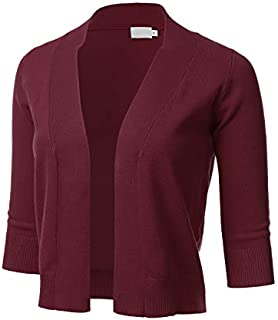 Women's Classic 3/4 Sleeve Open Front Cropped Cardigan...