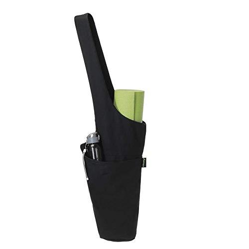 LiiZee - Bolsa Multiusos para Esterilla de Yoga con Bolsillo Lateral Grande y Bolsillo con Cremallera, se Adapta a la mayoría de Las Alfombrillas, Color Negro