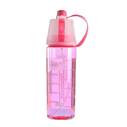 LXXYBD Copa Spray Deportivo - Botella Agua con Spray para Deportes Botella Enfriamiento Bicicleta Portátil Al Aire Libre Gimnasio Botella Playa Copa A Prueba Fugas Beber Agua (Color : Pink)