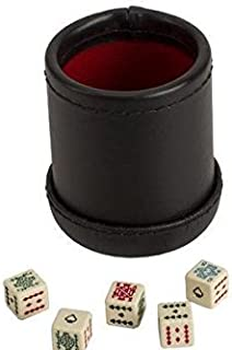 CHH SS-CQG-7815 Black/Cream Color Deluxe Leather Like Dice Cup with 5 Poker Dice
