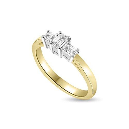 0.45ct G/VS1 Diamante Trilogy Anello da Donna con Smeraldo diamanti in 18kt Oro Bianco e Giallo