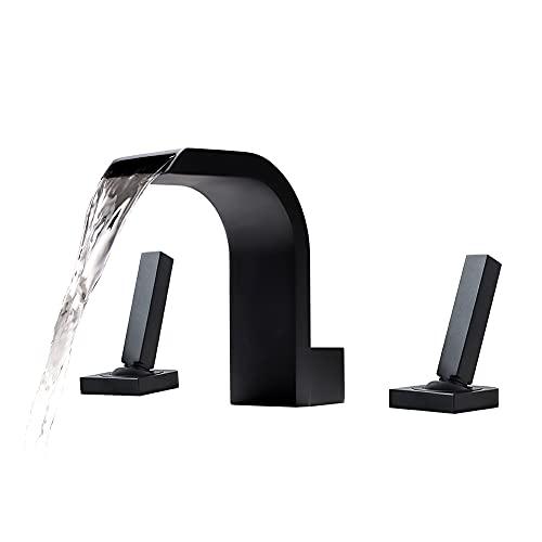 Waterfall Bathroom Faucet 3 Holes 2 Handles, Bathroom Sink Faucet Matte Black, Waterfall Bathtub Faucet Deck Mount, Widespread Waterfall Faucet Solid Brass for Vessel Sink/Bathtub- DEOLER