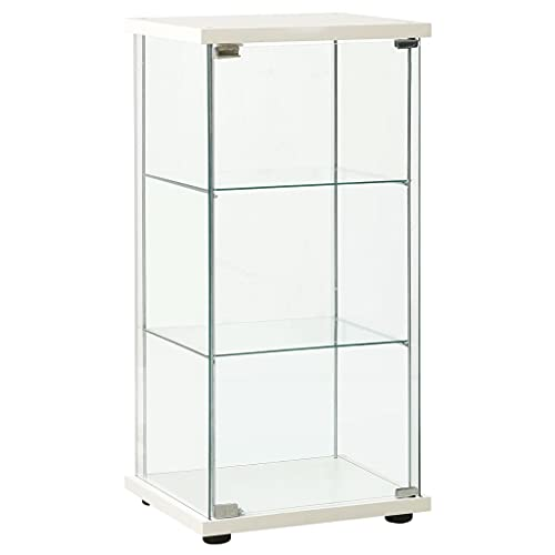 Glass Display Cabinet, Free Standing Storage Unit Storage Cabinet Tempered Glass White