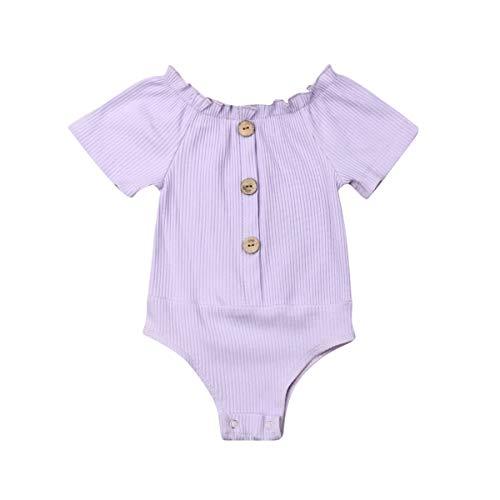 Baby Girls Short Sleeve Onesies Bodysuits-Organic Cotton Solid Plain Romper-Off The Shoulder Ruffle Top Shirt(Purple,18-24M)