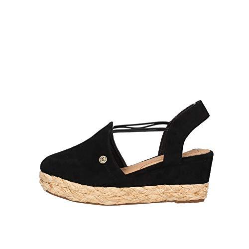 Wrangler WL01511 Sandale aus Wildleder, schwarz, elastische Schnürsenkel, Größe Schuhgröße 37 EU Farbe Schwarz