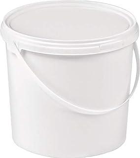 Seau de 5 l en plastique alimentaire, blanc, poignée en étrier, couvercle à visser diamètre 214 mm, hauteur 188 mm.