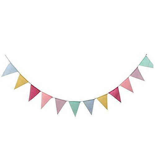 Haodou Girlande Wimpel Kette Wimpelkette für Party Hochzeits Kinderzimmer Dekoration Weihnachtsfest Geburtstagsfeier 4m mit 12 Dreieck (Bunt)