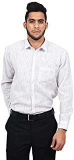 The Mods Men's Formal White Color with Black Stripes Shirt