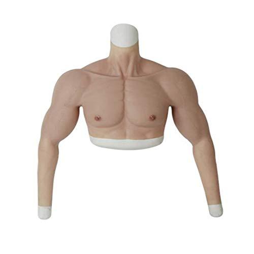 QLIGHA Silikon gefälschte Brust Muskel Weste Bizeps Kleidung - Mann Charming Cosplay Falscher Bauch für Männer Filme Requisiten Crossdresser Lustige Brust Simulation Muskel