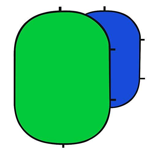 AERFA Toile de Fond Pliable Chromakey Vert et Bleu,Portable Backdrop,Double Face Pop Up Fond Vert et Bleu pour Video,Photographie de Portrait et Télévision Diamètre150x200cm,Vert et Bleu