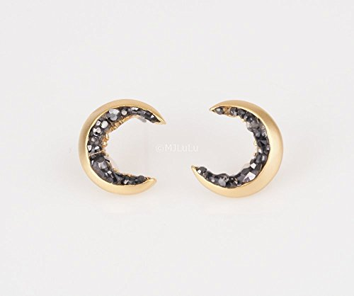 Gold Plated Crescent Moon Stud Earrings