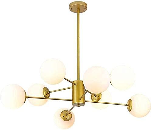 Lámpara colgante, lámpara de araña Lámpara de múltiples lámparas E27 Globo de metal Luces colgantes Pantalla de cristal Restaurante moderno Sala de estar Dormitorio Pasillo Iluminación Luces colgant