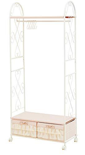 ハンガーラック 衣類ラック 収納ボックス 幅75cm 衣類収納 ワードローブ クローゼット スチール キャスター付き S字フック かわいい 北欧 アンティーク (引き出し2杯ハンガーラック)