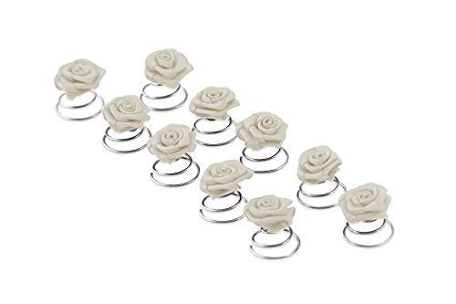 10 x Rose con spirale - Accessori per capelli da sposa - fiore - Bianco