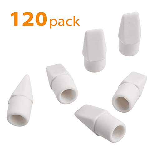 Pencil Erasers, Sooez White Pencil Top Erasers Cap Erasers Eraser Tops Pencil Eraser Toppers School Erasers for Kids School Supplies for Teachers Eraser Pencil Erasers, 120 PACK