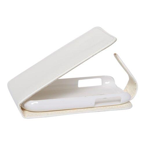 Mobilfunk Krause Flip Hülle Etui Handytasche Tasche Hülle für LG P690 Optimus Net (Weiß)